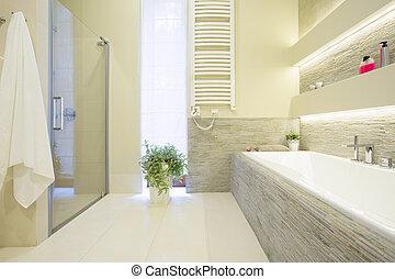 Badewanne und Dusche.