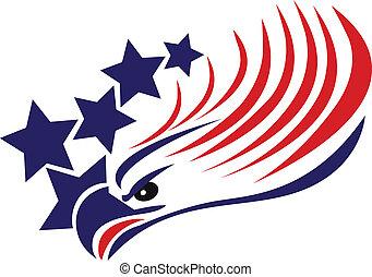 Bald Adler-Amerikan-Flagge-Logo.