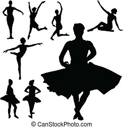 Ballettmädchen Vektorsilhouettes