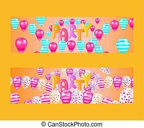 Ballon-Schriftsatz von Bannern Vektorgrafik. Feiern und Party Hintergrund mit bunten fliegenden Ballons. Party Dekorationen zum Geburtstag, Hochzeitstag, Babyparty.