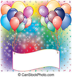 Ballons Party-Einladungskarte