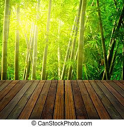 Bambuswald mit Lichtstrahlen und Plankenwäldern, geeignet für Werbung für Produkte