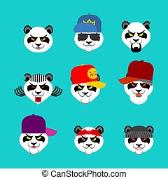 bande, panda, bear., abbildung, set., böser , übel, vektor, gangster, gesicht