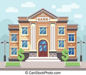 Bankgebäude mit Stadtbild. Business and Finance Flat Vektor Konzept