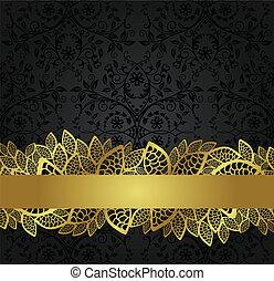 banner, goldenes, tapete, schwarz