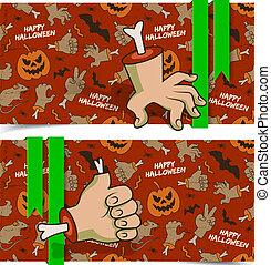 banner, halloween, horizontal, übel, karikatur