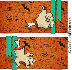 banner, halloween, horizontal, gruß