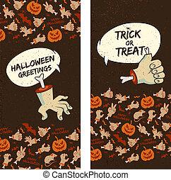 banner, halloween, senkrecht, glücklich