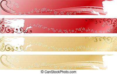 banner, liebe, themed