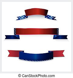 Banner mit amerikanischen Flaggenfarben.