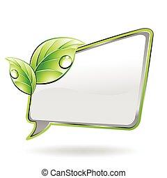 Banner mit grünem Blatt. Vector