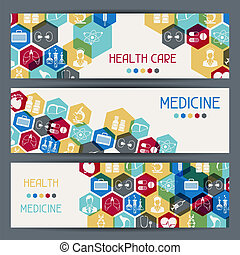 banners., medizinische gesundheit, horizontal, sorgfalt