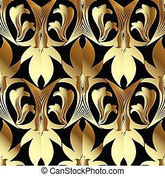 Barockgold Vektor nahtlos. Blumenhintergrundwand