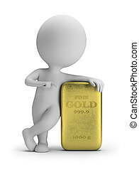 barren, gold, leute, -, klein, 3d