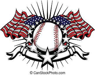 Baseball mit Flaggen und Sternen.