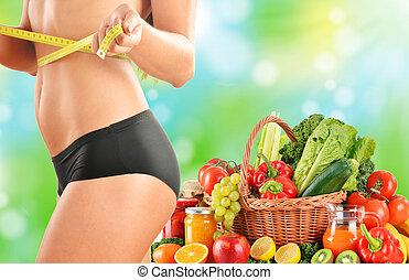 basierend, gemuese, diät, roh, dieting., ausgeglichen, organische