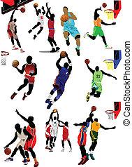 basketball, players., vektor, gefärbt
