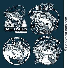 Bass Angeln Emblem auf schwarzem Hintergrund. Vector Illustration.