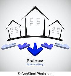 Bau Immobilien für dein Geschäft auf. Vektor Illustration. Beste Wahl