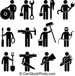Bauarbeiterjob Icon pictog