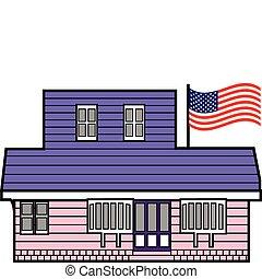Bauen mit amerikanischer Flagge