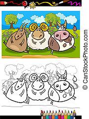 bauernhof, färbung, tiere, karikatur, seite