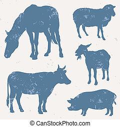 Bauerntiere mit Grunge-Effekt