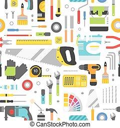 baugewerbe, cons, ausrüstung, hand, hintergrund, style., wohnung, seamless, werkzeuge, pattern.