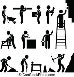 baugewerbe, hartes arbeiten, arbeit