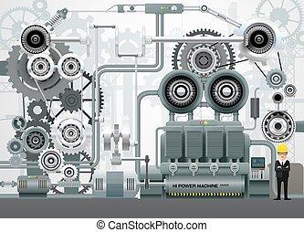 baugewerbe, technik, ausrüstung, vektor, fabrik, industrie, abbildung, maschinerie