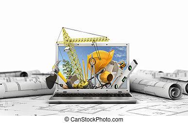 Baukonzept. Bauwerkzeuge im Laptop-Bildschirm. 3D Illustration