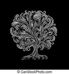 Baum abreißen mit Wurzeln für dein Design