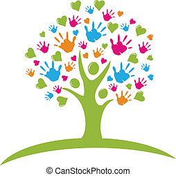 Baum mit Händen und Herzen passt