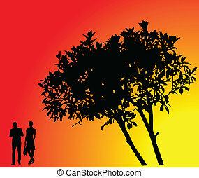 Baum mit Hintergrund - Vektor