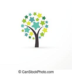 Baum mit Sternen - Bildung, Lernen, Erfolg Ikone.