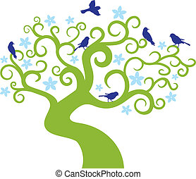 Baum mit Vögeln abfahren. Vektor Illustration