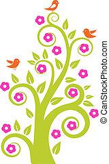 Baum mit Vögeln absetzen. Vektor Illustration