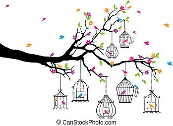 Baum mit Vögeln und Vögeln