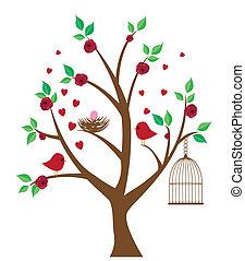 Baum mit Vögeln.