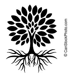Baum mit Wurzeln Silhouette