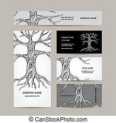 Baum mit Wurzeln. Visitenkartendesign