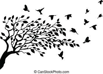 Baum und Vogelschwalbe