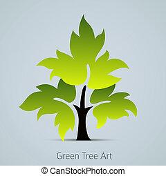 Baumvektor Icon mit grünen Blättern