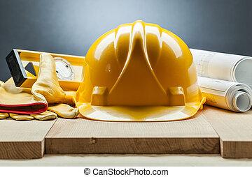 Bauniveau Helmhandschuhe Blaupausen.