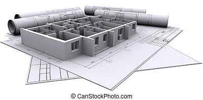 Baute Wände eines Hauses auf Bauzeichnungen