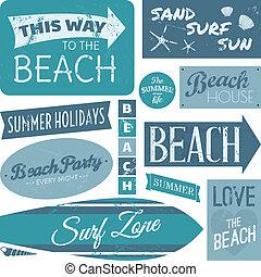 Beach-Label-Sammlung.
