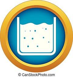Beaker gefüllt mit flüssigem Icon blau Vektor isoliert.