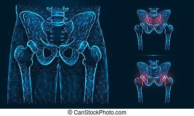 becken, anatomy., linien, beckenknochen, blaues, punkte, gemacht, freigestellt, strahl, hüfte, x, hintergrund., menschliche , hüfte, injuries., gelenk