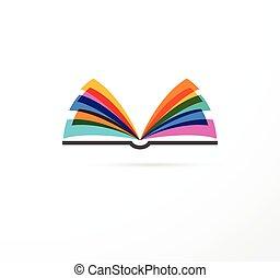begriff, bunte, -, bildung, buch, kreativität, lernen, rgeöffnete, ikone