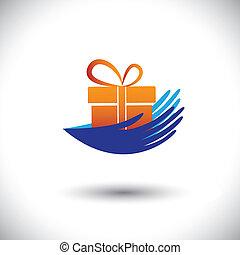 begriff, geschenk, graphic-, frau, icon(symbol), vektor, hände